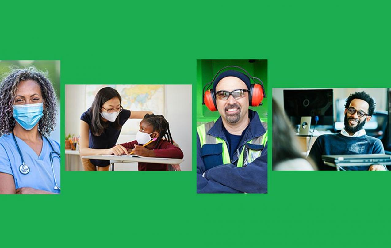 Photo of four AFSCME members in different professions